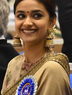 Mana Keerthy Suresh: Keerthy Suresh in Saree with Cute Smile at 66th National Awards 2019