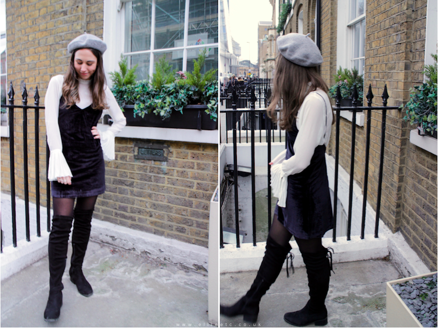 style, fashion, outfit, OOTD, dress, Tobi, sponsored, collaboration, Primark, Public Desire, H&M, layering, velvet, cami dress, winter, over the knee boots,