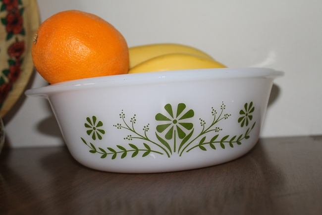 vintage green daisy glasbake dishes