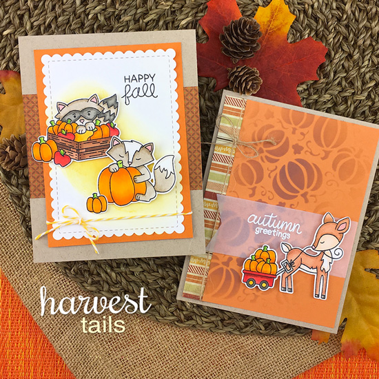Fall woodland animal cards by Jennifer Jackson | Harvest Tails Stamp Set by Newton's Nook Designs #netwonsnook #handmade