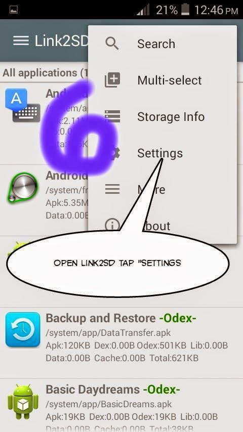 LINK2SD Settings