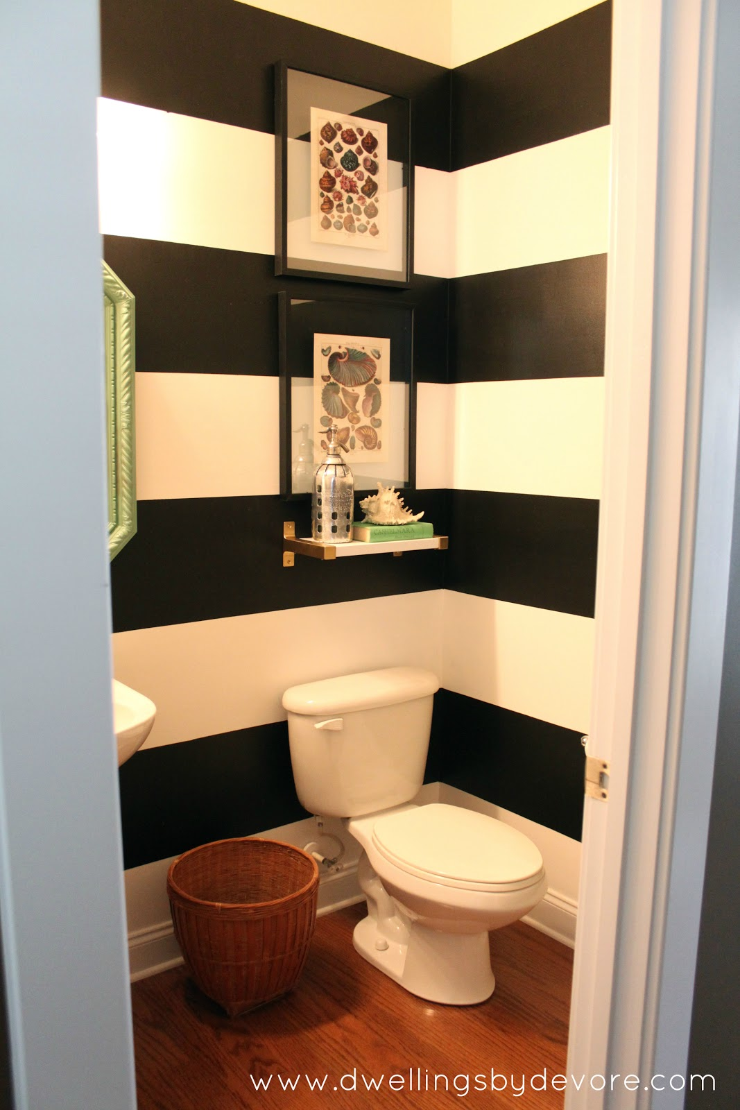 Dwellings By Devore Black And White Striped Bathroom