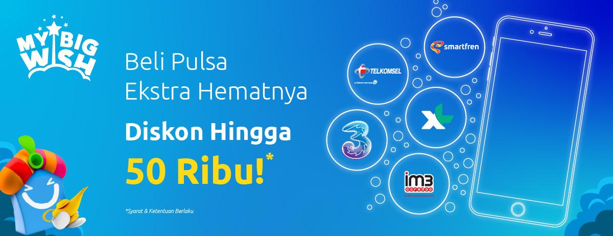 #BliBli - #Promo Beli Pulsa Ekstra Hemat Diskon Hingga 50 Ribu (s.d 25 Jan 2019)