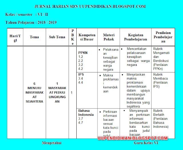 Jurnal Harian Kelas 6 SD/MI Kuriklum 2013 Revisi 2018