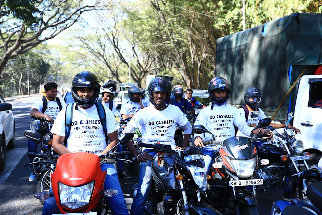 As part of the 'Remonetise India - A Citizen's Pledge' campaign, a 'Go-Cashless Rally', took place in Bengaluru