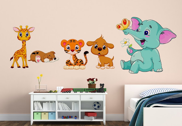 Orange and Orchid Animal cartoon wall sticker for baby room