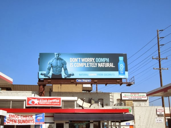 Oomph weightlifter Zico coconut water billboard