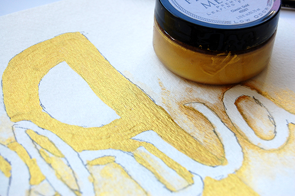 joshua 1:9 handlettering logo concept on watercolor paper using gold leafing upclose image