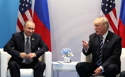 Vladimir Putin at a meeting with US President Donald Trump.