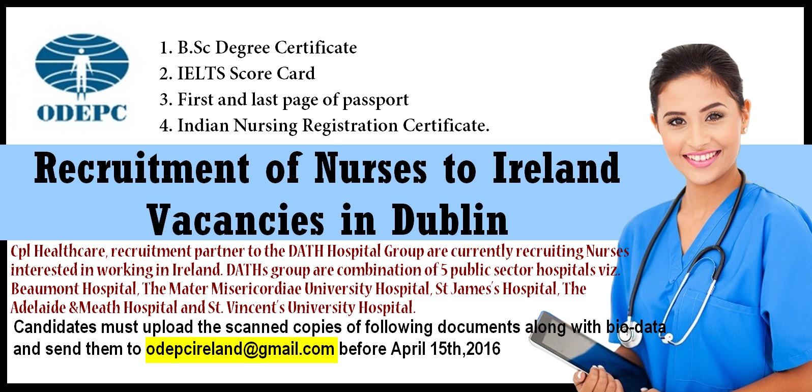 nurses job vacancy  recruitment of nurses to ireland