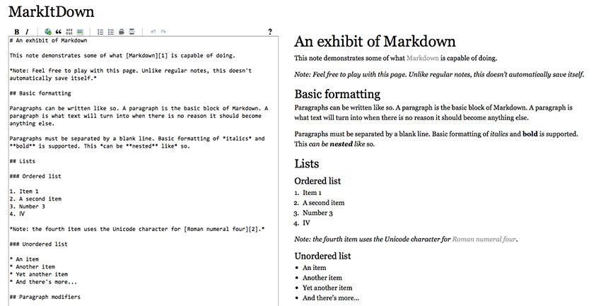 Markdown ejemplo de escritura