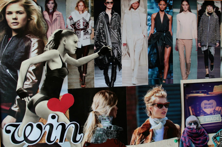 Fashion winter mood board DIY video using magazine clippings
