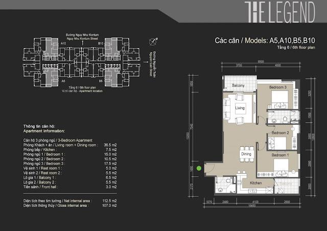 Mặt bằng căn hộ A5 A10 B5 B10 - 107m - The Legend
