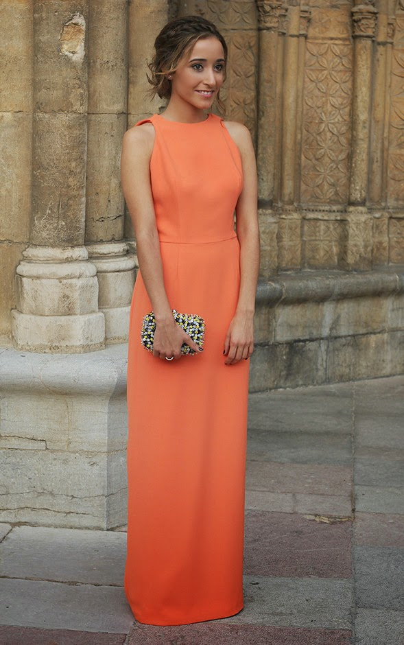 Wearing a Maxi Orange Dress, Stylish Wedding Guest Outfit