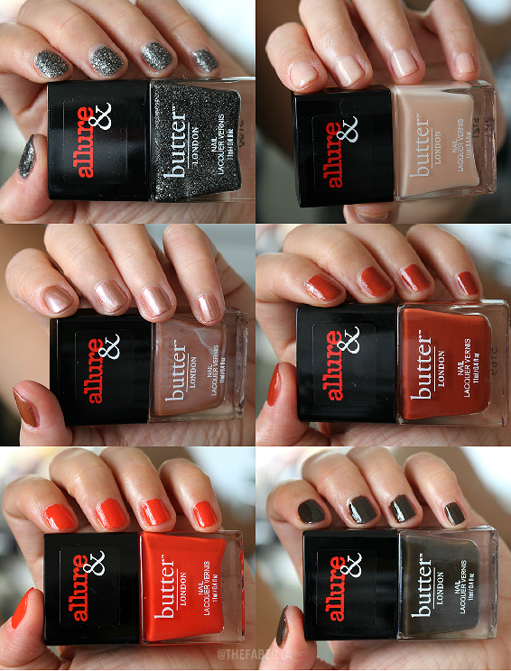 allure and butter london arm candy nail polish collection, swatch, review, giveaway, fall 2015 nail polish collection