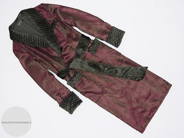 mens dressing gown long burgundy paisley silk quilted velvet lapel gentleman robe english victorian vintage style