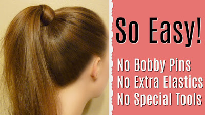 Hair wrapped ponytail using no bobby pins or extra elastics!