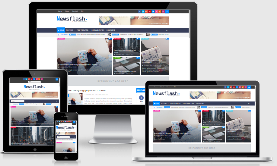 newsflash responsive blogger template free theme cc