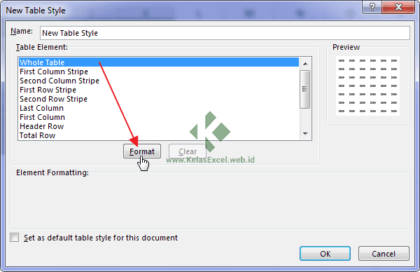 New Table Style Excel Window
