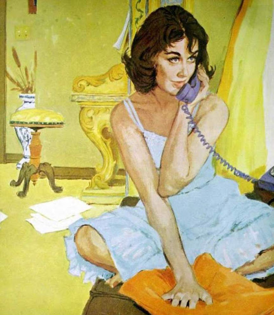 "Lynn Buckham illustration for Saturday Evening Post 1960. ""The Intrusive Stranger."" Woman in nightie talks on the phone. An Exciting Offer and Other stories of Marketing the American Dream. marchmatron.com"