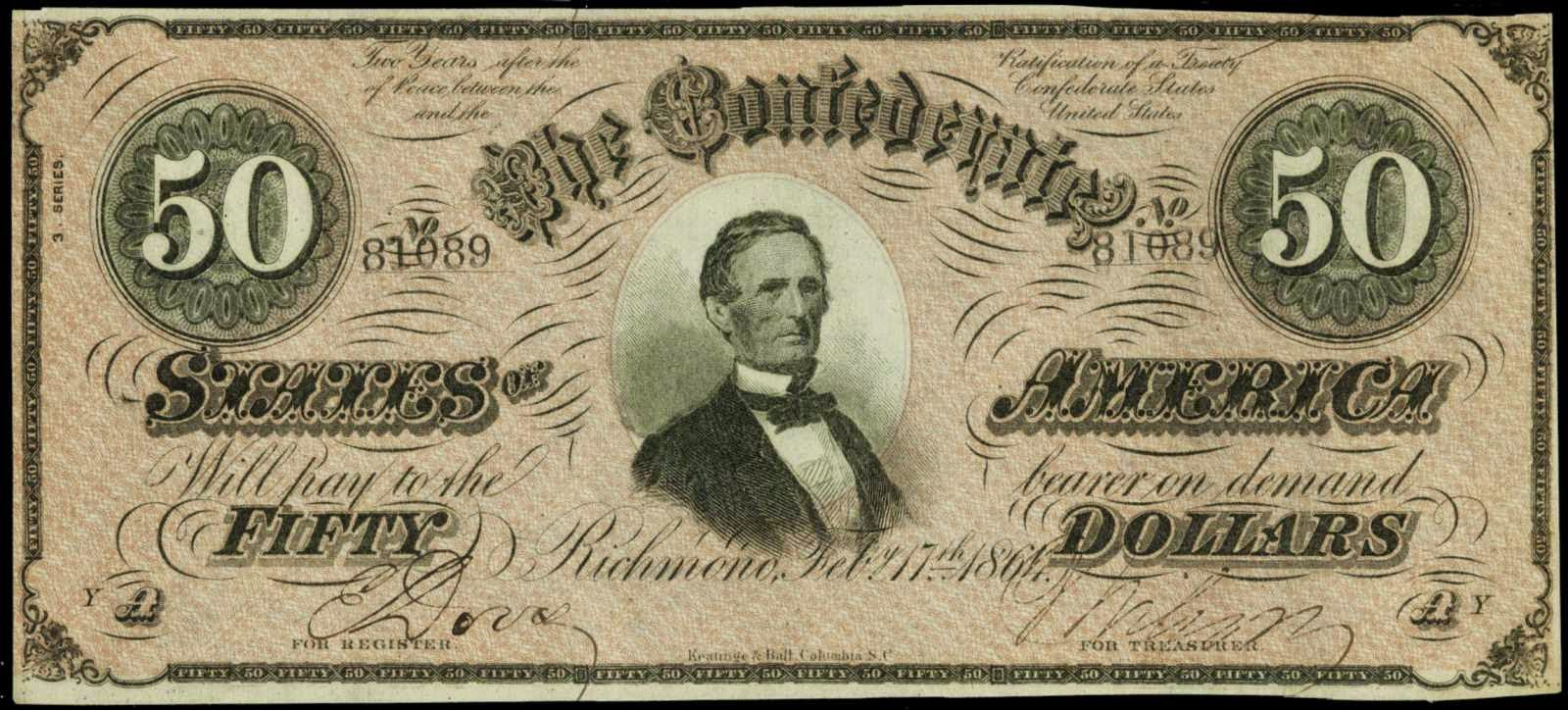 Confederate Paper Money 50 Dollar Bill 1864 Jefferson