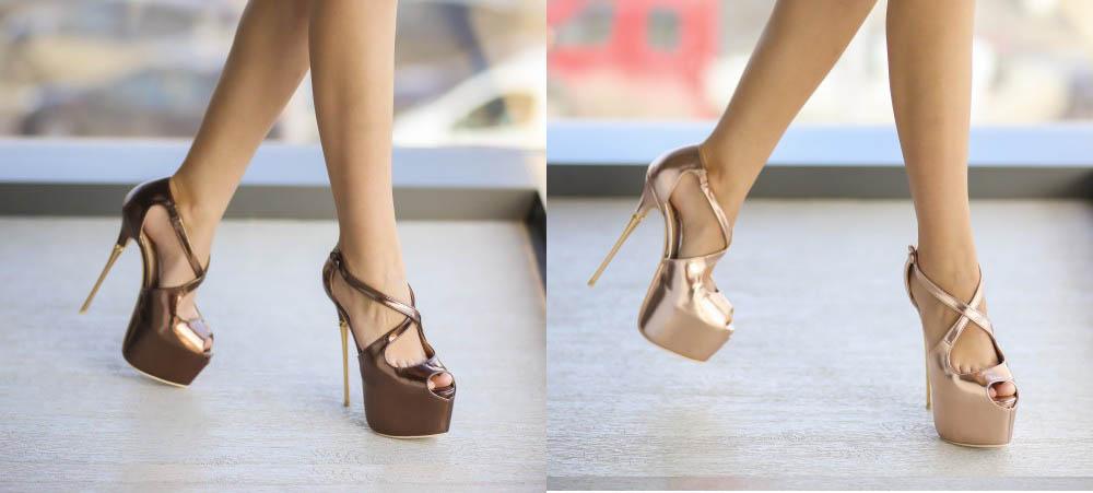 Sandale bronz, aurii elegante cu toc inalt de ocazii speciale