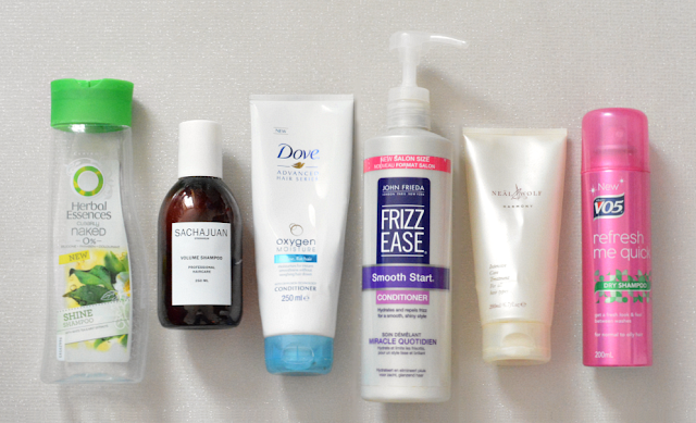 Empties, Reviews, Herbal essences, Sachajuan, Dove, Frizz Ease, Neal and wolf, Vo5