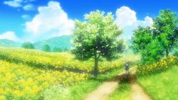 anime landscape field nature background clannad forest open scenery outdoor desktop flower path hd wallpapers ushio among walk scene story