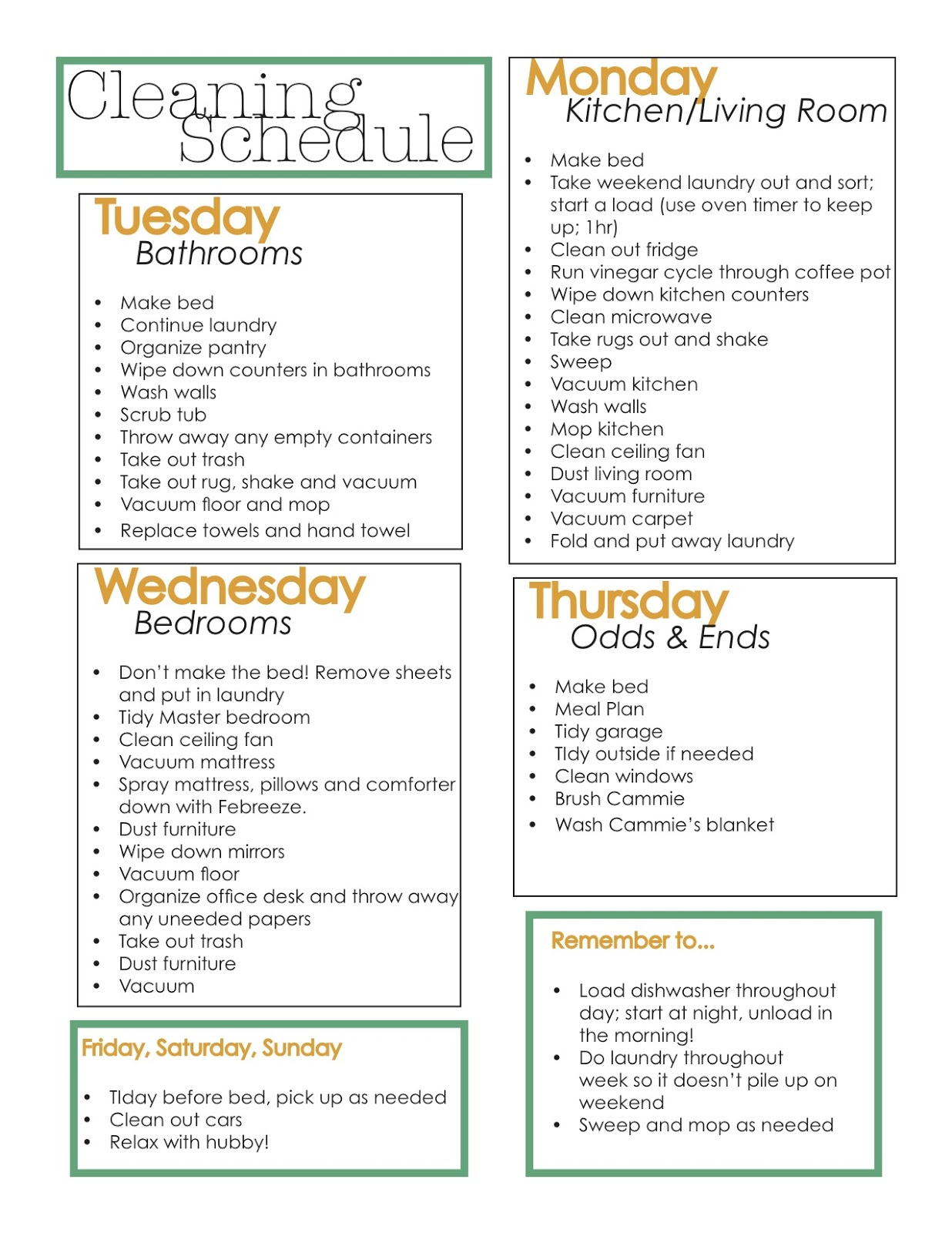 Weekly House Cleaning Schedule Template Lexu Tk