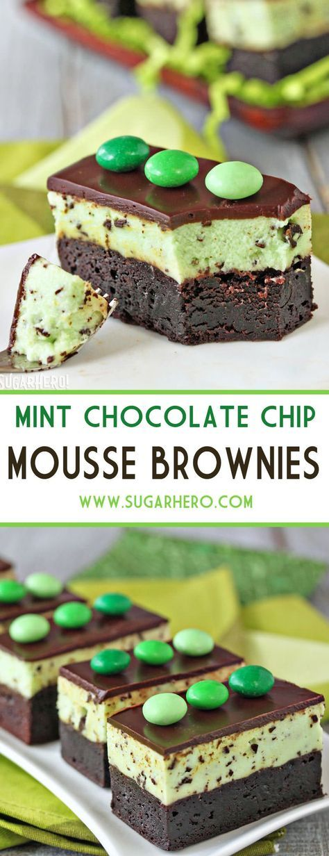 MINT CHOCOLATE CHIP MOUSSE BROWNIES