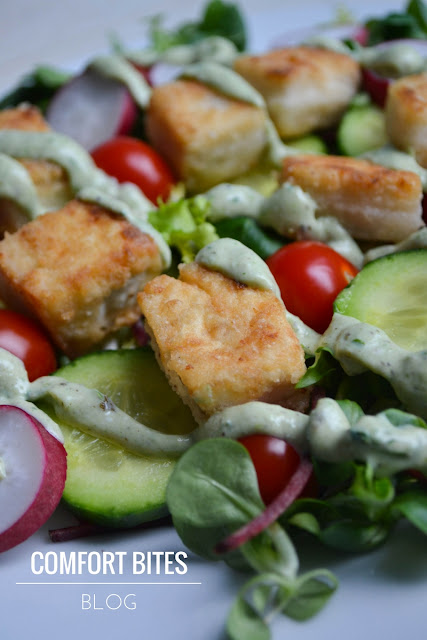 Crisp Tofu Salad with Creamy Pesto Dressing (vegan, vegetarian, gluten free)