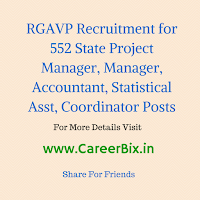RGAVP Recruitment for 552 State Project Manager, Manager, Accountant, Statistical Asst, Coordinator Posts