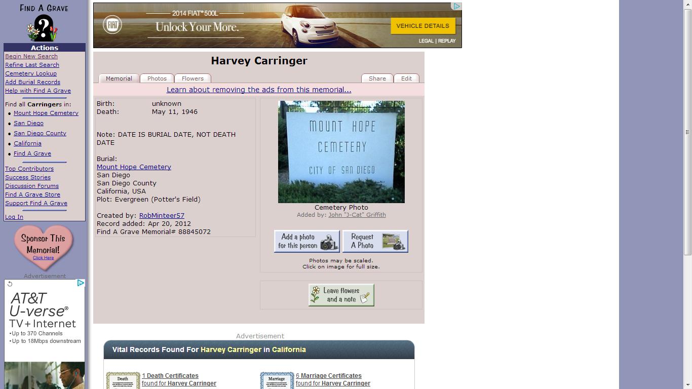 Genea Musings Tombstone Tuesday Harvey Carringer 1852 1946 In