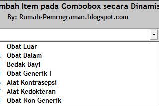 Source Code Menambah Item pada ComboBox VB6 secara Dinamis