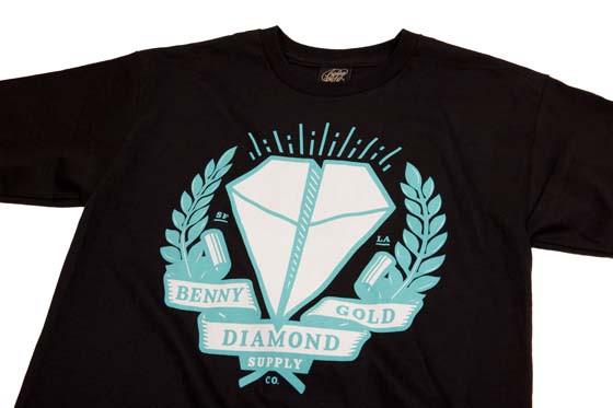 camiseta preta benny gold diamond