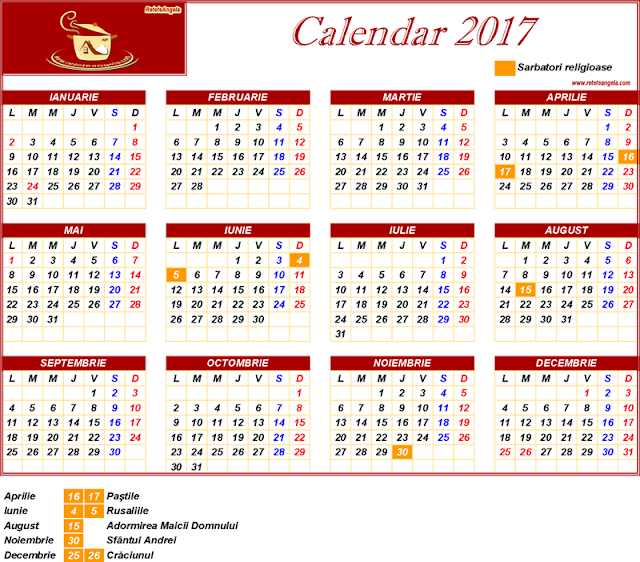 Calendar 2017 - sarbatori religioase