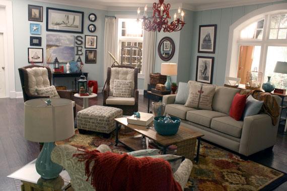 Coastal inspired living room home interior design for Beach house themed interior design