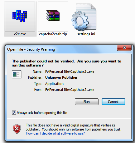 Opening cash2captha software.