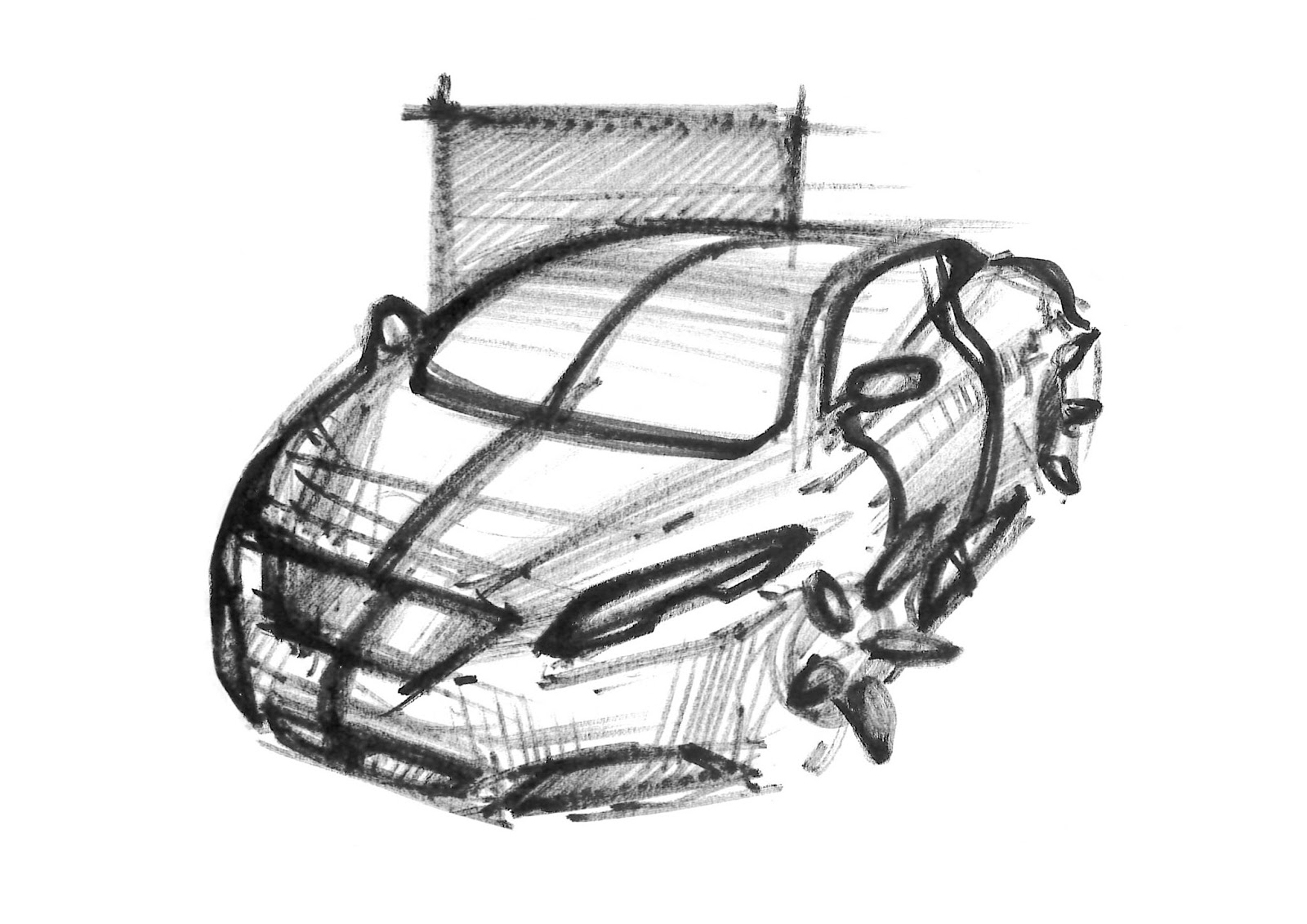 Simon Larsson - Sketchwall: Drying Pen Car Sketch Perspective