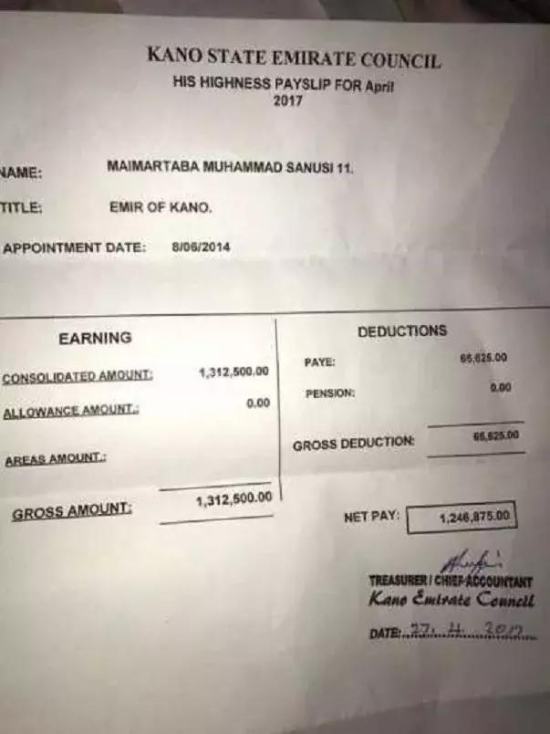 Alleged embezzlement: Emir Sanusi releases his April salary payslip ...