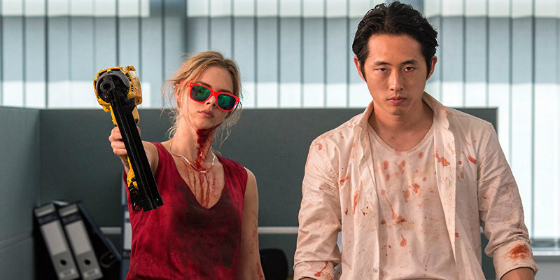 mayhem samara weaving steven yeun