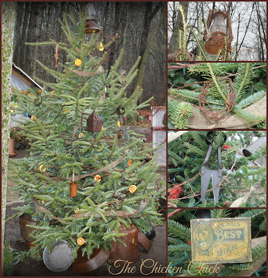 Chicken yard Rustic Rusty Christmas Tree.