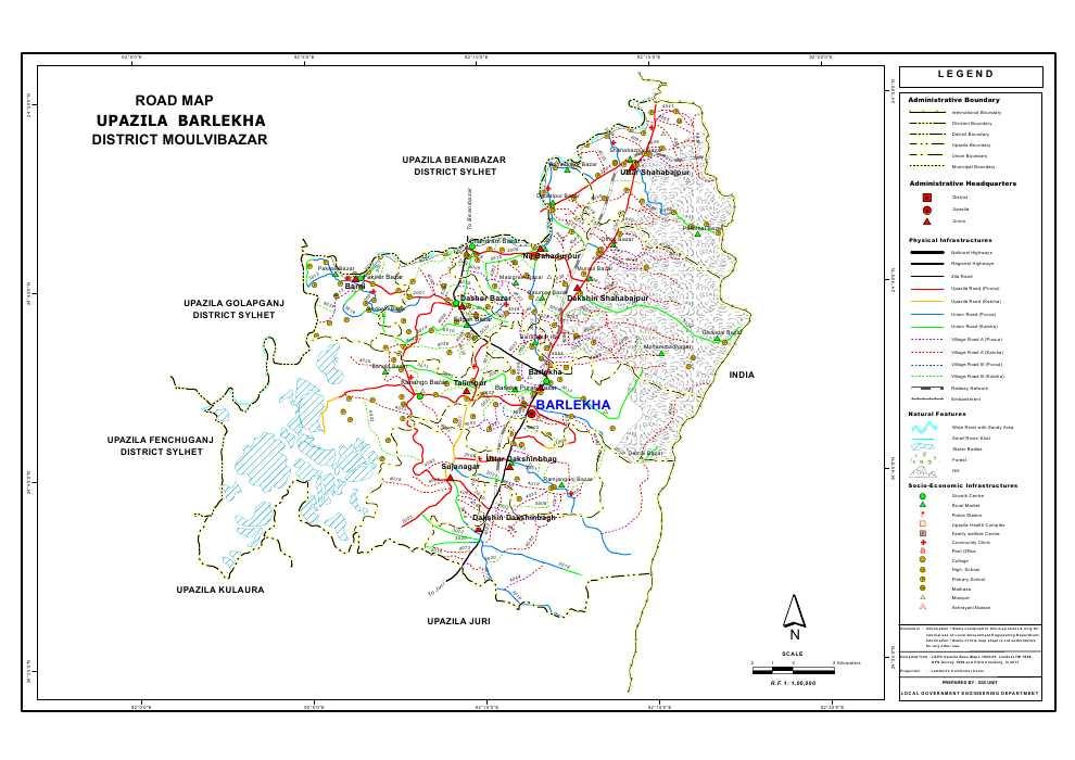 Barlekha Upazila Road Map Moulvibazar District Bangladesh