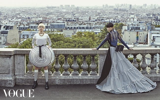 Jean Paul Gaultier Couture 2015 Fall Navy Striped Dress Editorials
