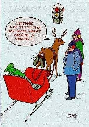 Funny Christmas cartoon - I stopped a bit too quickly and Santa wasn't wearing a seatbelt