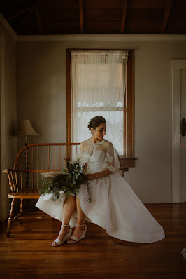 bride with coverup lace