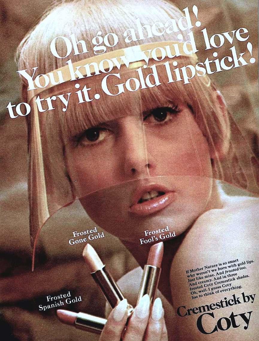 1966 gold lipstick, Cremestick by Coty