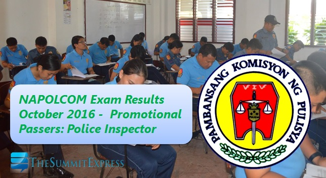 Police Inspector Passers: October 2016 NAPOLCOM exam results