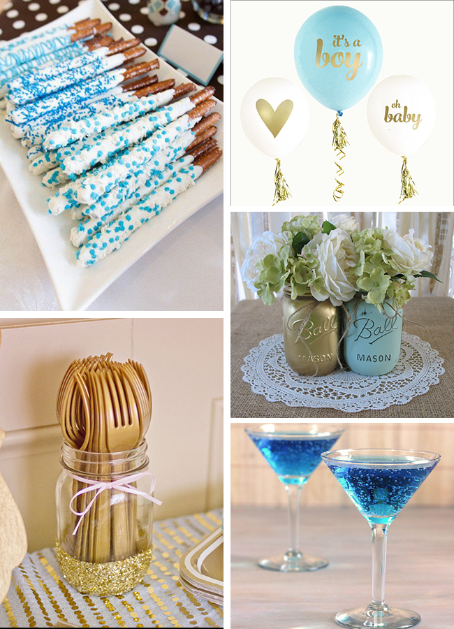 inspirations blue and gold baby shower sweet pea paperie