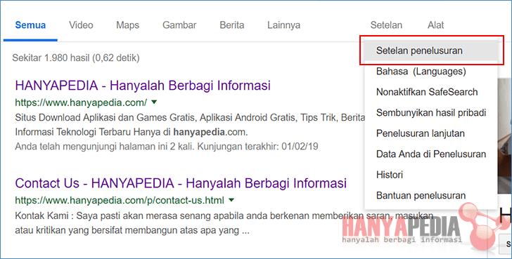Cara Membuka Tab Baru di Hasil Pencarian
